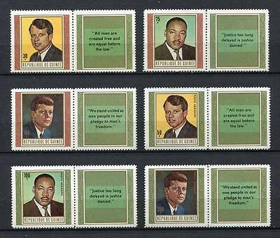 27255) GUINEA 1968 MNH** Nuovi** Kennedy M.L.King 6v with label