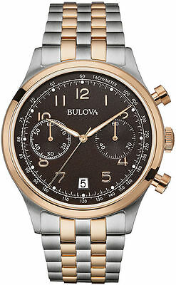 Brand New Bulova 98B248 Classic Chronograph Date Watch Two Tone Rose Gold Black
