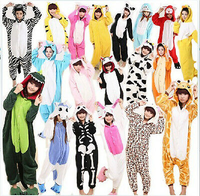 Hot NewUnisex Animal Onesie Kigurumi Pajamas Costume Adult Cosplay Flannel dress