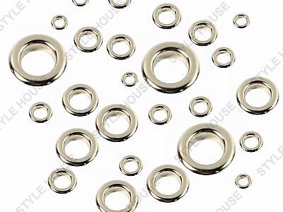 2-3-4-5-6-8mm 100pcs SILVER FINISH EYELETS SEWING LEATHER CRAFT SCRAPBOOKING