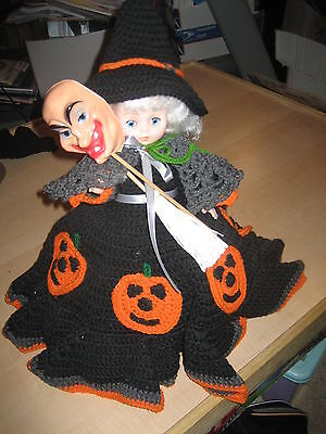 """Halloween Witch w/ Broom & Alternate Face Figure 15"""" Tall Hand Made w/Stand"""