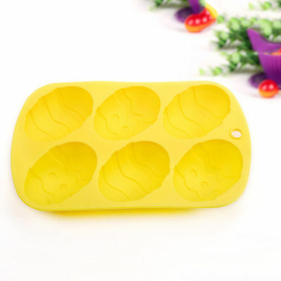 6-Cavity Easter Egg Shape Silicone Mold Chocolate Candy Cake Soap Baking CS