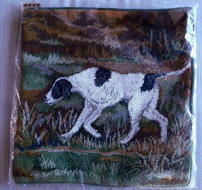 """English Pointer Dog Needlepoint Pillow Cover Wool/Velveteen 14"""" Sq. NEW ZipCover"""