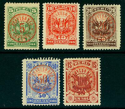 PERU 1895 TUMBES Revolutionary issue - compelte set - Sc# 129-133 mint MH