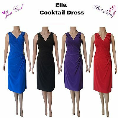 Ella Ladies Womens Curvy Cocktail Dress Special Occasions Xmas Party Plus Sizes