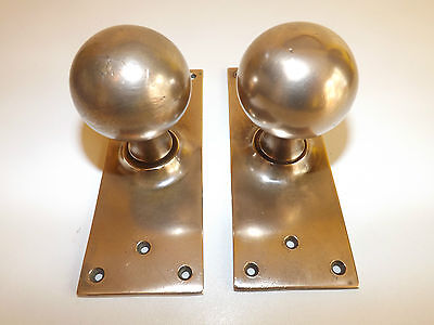 Antique Pair Of Bronze Door Knobs With Large Back Plates