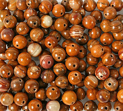 Pack of 10 x 8mm Fossil Wood Beads for Jewellery Making (BW26)