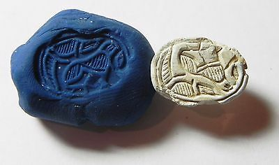 Zurqieh -Af696- Ancient Egypt ,2Nd Intermediate Stone Scarab. 1782 - 1570 B.c