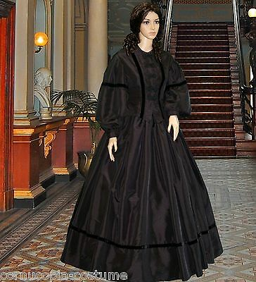 Victorian American Civil War 2pc mid Victorian mourning costume made to order