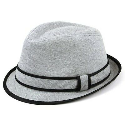 02bf6de2618 FEDORA HAT COTTON Roll-Up Band Trilby Cuban Caps Black White Grey ...