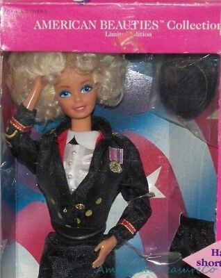 New Vintage 80s 1989 Lmd Ed American Beauties Army Officer Barbie Military Dress