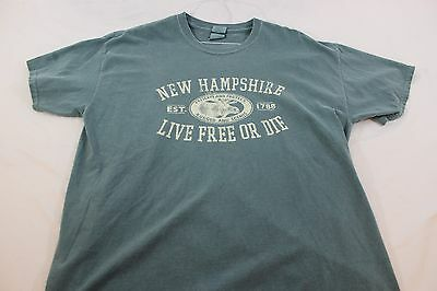 "XL green New Hampshire t shirt ""Live free or die"""