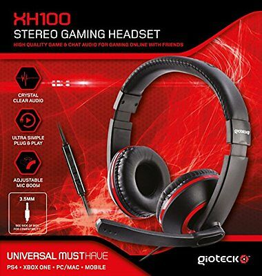 Gioteck XH100 Micro Casque Gaming Stéréo pour iPhone/iPad/Xbox/PS4/PC – rouge