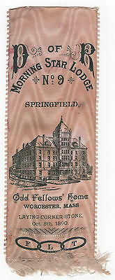 Daughters Of Revolution 1890 Odd Fellows Home Corner Stone RIBBON Worcester Mass