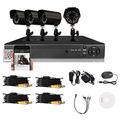 4CH H.264 Outdoor HD 800TVL Home CCTV Security IR-Cut Video Waterproof Camera