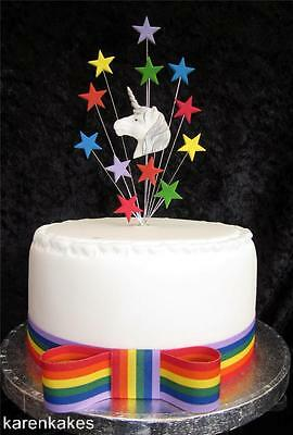 CAKE TOPPER WITH UNICORN & STARS MULTICOLOUR IDEAL FOR A 15cm cake, OR CUP cake