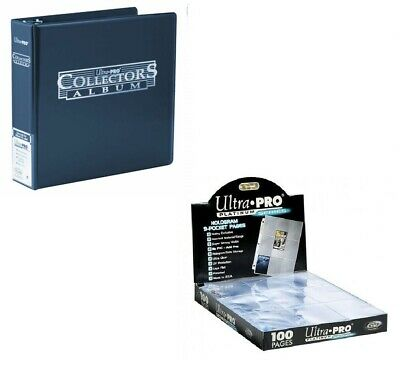 Ultra Pro 3 Ring Blue Binder Album + 100 Platinum 9 Pocket Pages Sleeves Pokemon