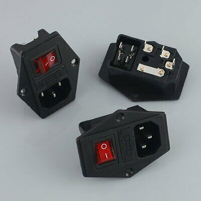 4 pcs 10A 250V Inlet Module Plug Fuse Switch Male Power Socket 3 Pin IEC320 C14
