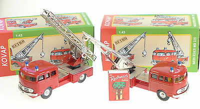 2 x MERCEDES FIRE VEHICLES TURNTABLE LADDER & TOW TRUCK 1:43 KOVAP TIN TOYS