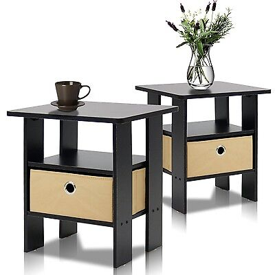 Furinno 2-11157EX End Table Bedroom Night Stand Petite Espresso Set of 2, NEW