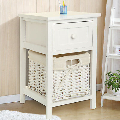 Modern Chic White Bedside table Fresh Look Small Storage Wicker Basket UK