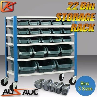 22 BIN Storage Shelving Tools Parts Rack Shelf Garage Workshop Wheels 5 Tier
