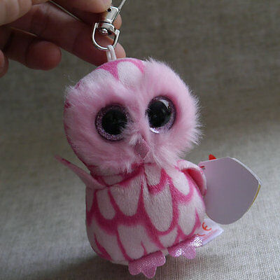 """new ty beanies boos Owl Pinky plush clip on 3"""" stuffed animal toy"""