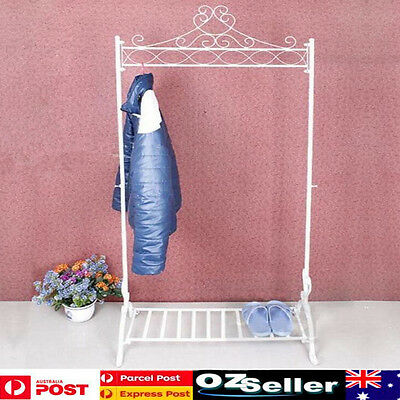 Wrought Iron Clothes Hanging Rail Rack Shop Display Stand Dress Coat Rack White
