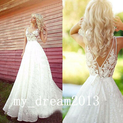 Sexy V-neck Lace Wedding Dresses Bridal Gown Prom Deb Custom Sz6.8.10.12.14.16++