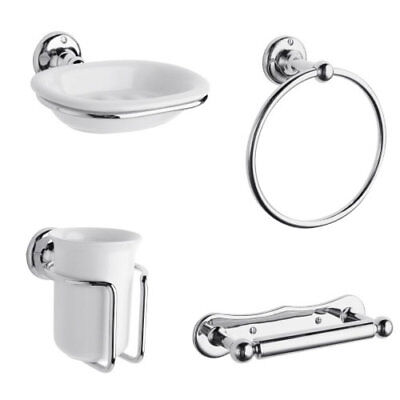 Bathroom Accessories Set 4 Piece White Ceramic Holder Chrome Wall Mount New