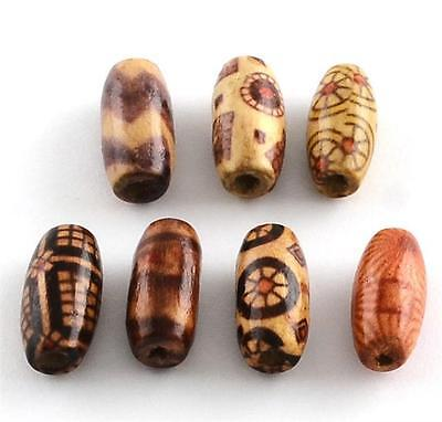 50 per bag 15mm OVAL WOODEN BEADS BOHO PATTERNED MIX 3mm HOLE