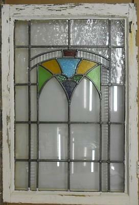 "LARGE OLD ENGLISH LEADED STAINED GLASS WINDOW Beautiful Geometric 22"" x 32.5"""