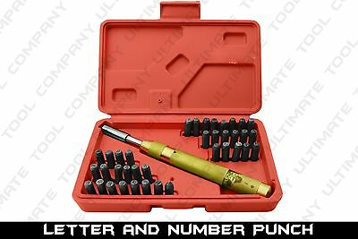 38pc letter and number punch set solid brass automatic punch two symbols wcase