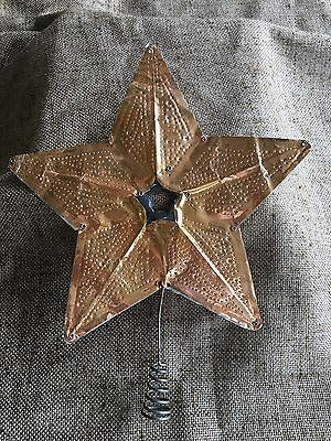 Vintage German Christmas Tree Topper Copper Punched Aluminum STAR,2 Sided Design
