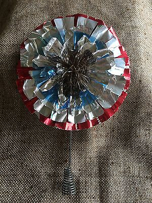 Vintage German Christmas Tree Topper Red,Silver,Blue Aluminum with Gold Tinsel
