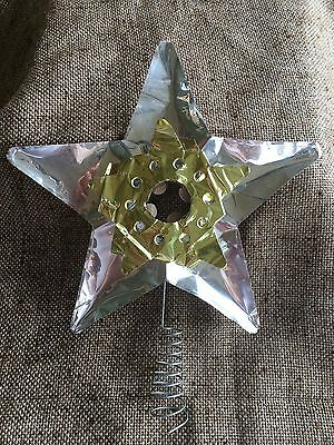 Vintage 1950's Doubl Glo Christmas Tree Topper Aluminum STAR Gold on Silver