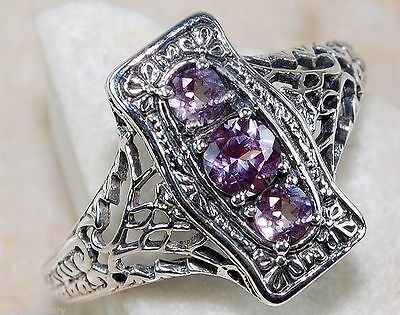 1CT Color Changing Alexandrite 925 Solid Sterling Silver Art Nouveau Ring Sz 8