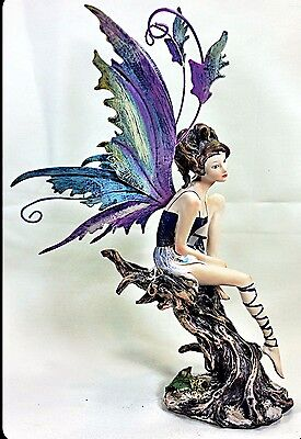 Fairy on Tree Purple Resin Figurine Collectible Fantasy