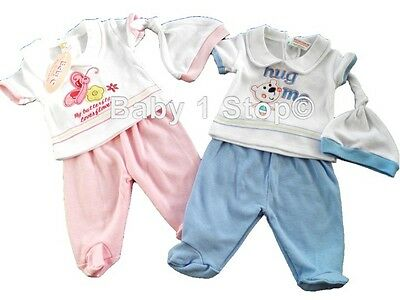 Premature Early Baby Boys / Girls 3 Piece Outfit Leggings Top & Hat 3-5 or 5-8lb