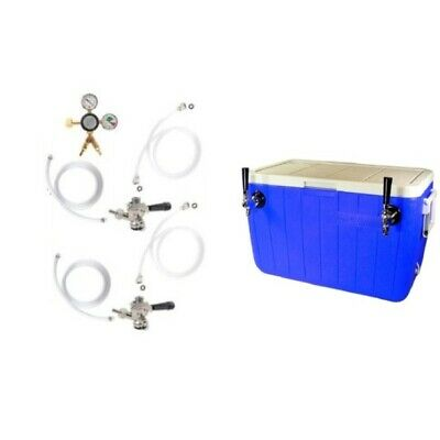Double Faucet Coil Cooler Complete Kit -No Tank- Ready To Pour Jockey Box Setup