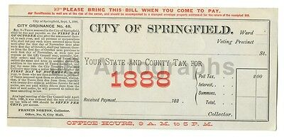"""19th Century Banking - 1888 Tax Voucher - """"City of Springfield"""""""