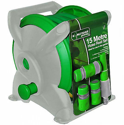 Wall Mounted Free Standing 15M 5Piece Garden Hose Reel Set + Connectors Adaptors