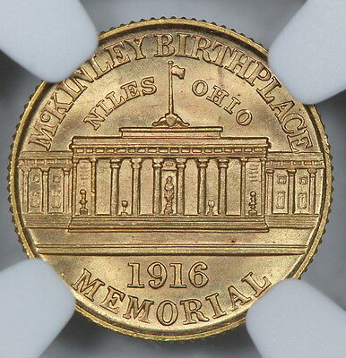 NGC MS64 1916 McKINLEY COMMEMORATIVE GOLD DOLLAR $1   (BC02)