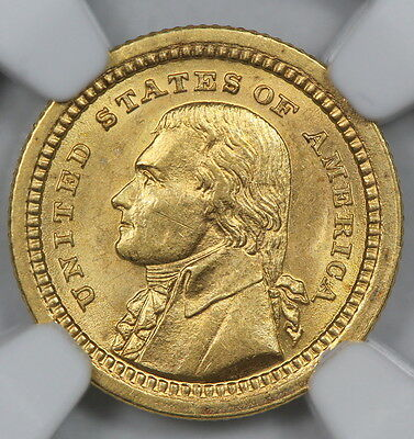 Ngc Ms63 1903 Jefferson Louisiana Purchase Commemorative Gold Dollar $1   (Bc01)