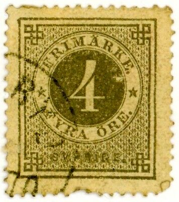 1876 Sweden Stamp #18 4o gray perf 14, Used VF, H