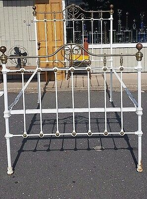 Antique Iron &  Brass Bed Unusual  Height Hotel Bed