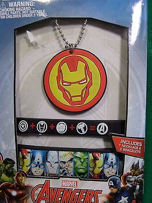 NIP Marvel Avengers Gift Set Necklace Bracelet Captain America Iron Man