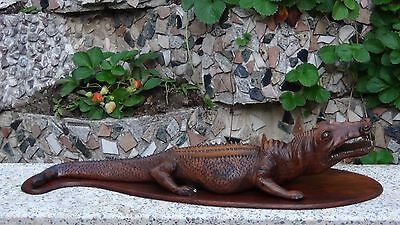 "Antique Chinese Large Mahogany Wood Carved Crocodile,Alligator Statue 34""L"