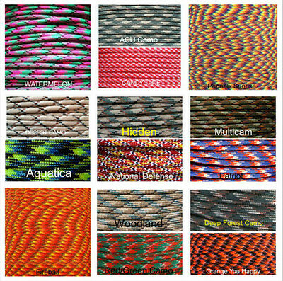 550 Paracord Parachute Cord Lanyard Mil Spec Type III 7 Strand Core100FT OG