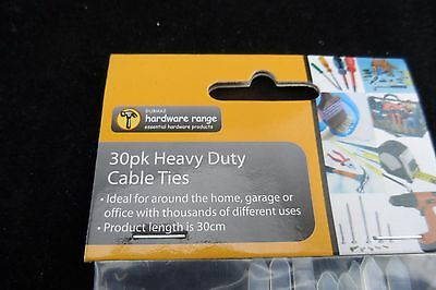 30 Pk Heavy Duty Cable Ties White - 30Cm Long Free Post Quality Made